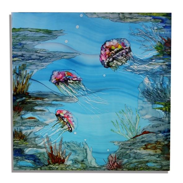 ocean underwater beach tropical ocean jellyfish painting beach decor art Jon Allen